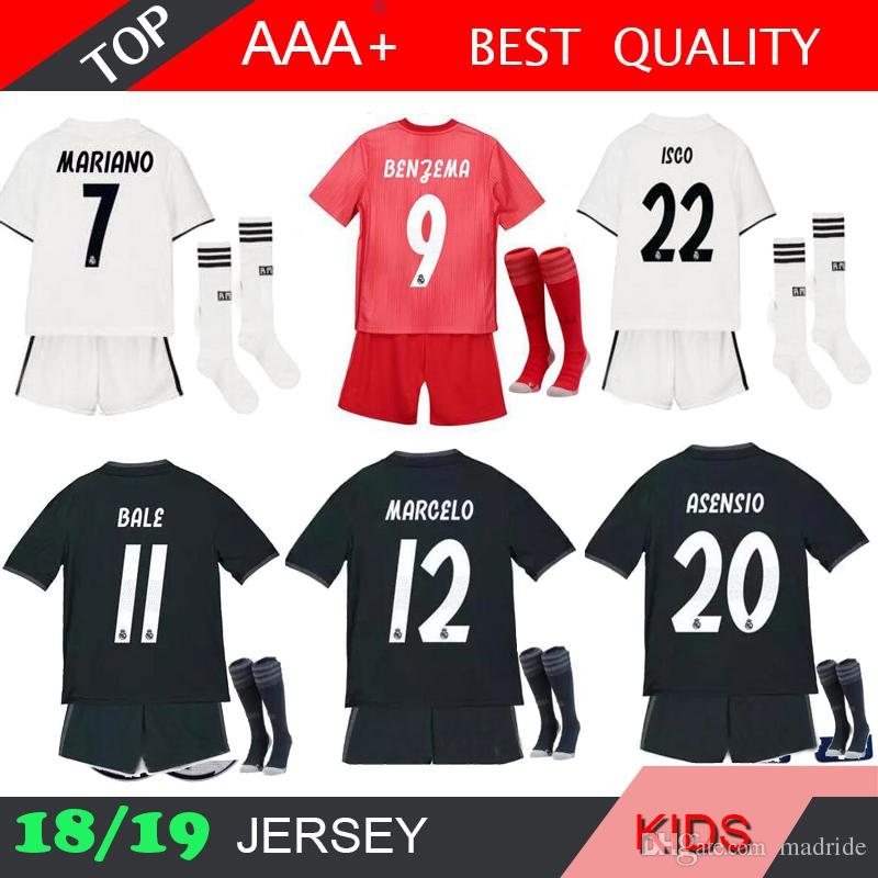 2019 KROOS 18 19 Real Madrid MARIANO Kids Kit Sock Soccer Jersey 2018 2019  Youth Boy Child Modric ISCO ASENSIO BALE Football Jersey Shirt From  Madride 6d9d8f264