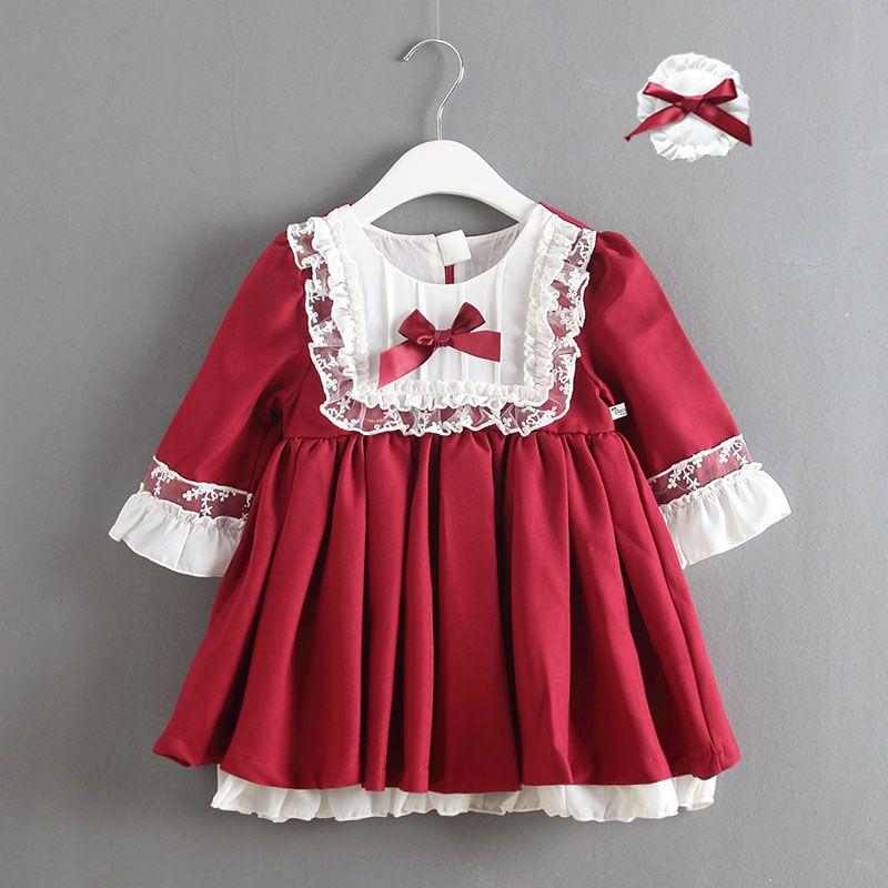 5915db864150c Acheter Fille Robe Dentelle Vêtements Enfants Princesse Arc De Noce Robe De  Noel 2019 Automne Automne Manches Longues Robe Vêtements Pour Enfants De   80.41 ...