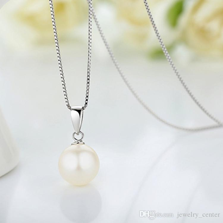 10mm 12mm White Pearl Pendant Necklaces 925 Silver Box Chain Necklace for Women Girls best gift