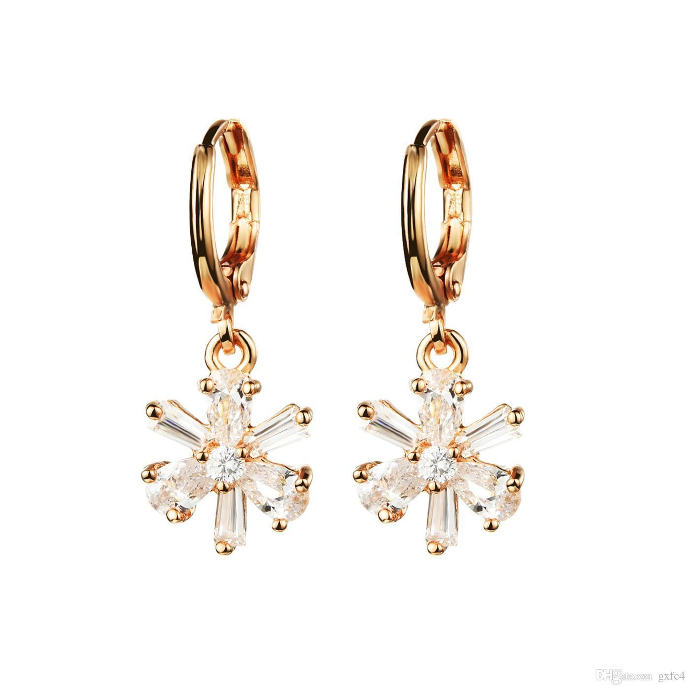 2018 Women Crystal Earring Jewelry Flowers Drop Earrings 18k Gold