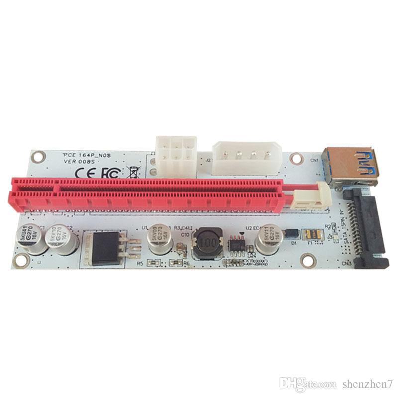 60 см PCI-E Express 1 X до 16 x Extender Riser Card адаптер USB 3.0 LED SATA 6 контактный кабель питания DC-DC для добычи XXM8 OTH810
