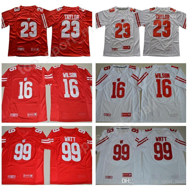 NCAA Wisconsin Badgers College Football 16 Russell Wilson Jersey Men 99 JJ  Watt 23 Jonathan Taylor 25 Melvin Gordon III 1 Piggery Red White Online with  ... 3745b66a5