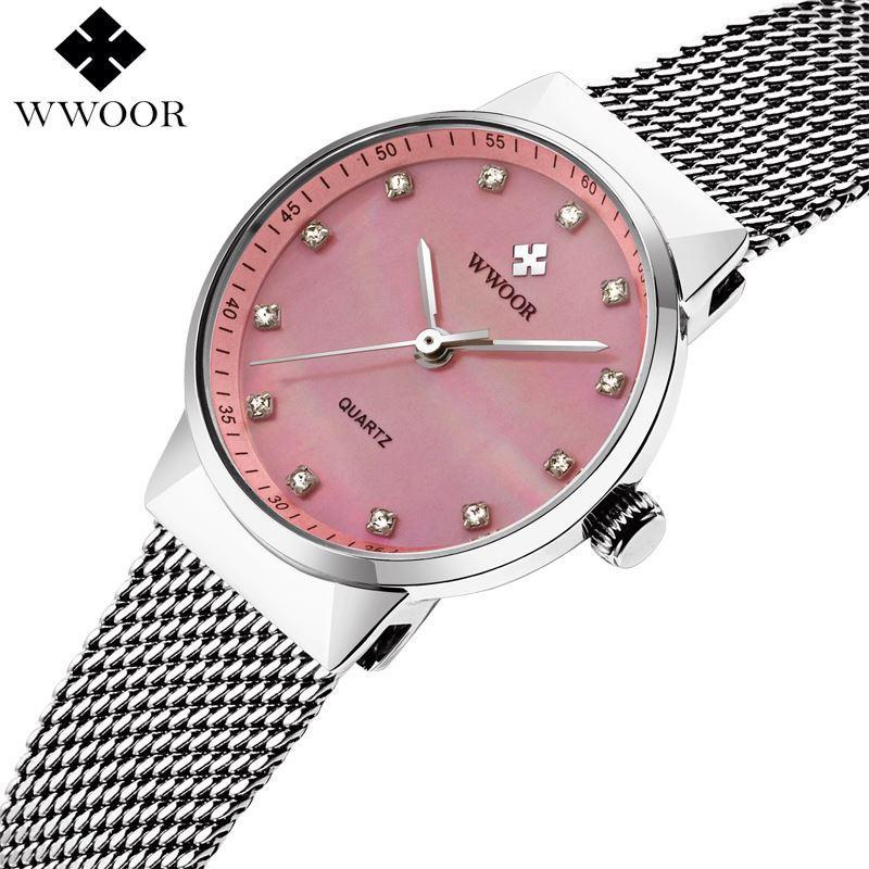 0b3c23d360c WWOOR Brand Women Watches Luxury Waterproof Stainless Steel Women ...