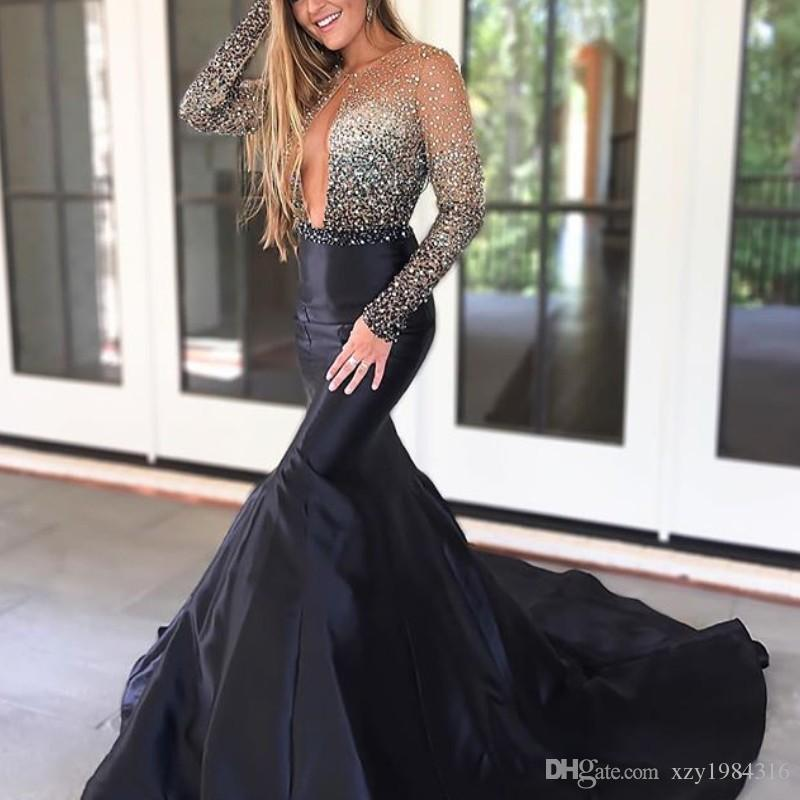 3b6534c7f85 Sexy Chic Key Hole Prom Dresses Sparkle Sequins Beads Long Sleeve Mermaid  2018 Prom Dress Attractive Fashion Sweep Train Party Gowns Online Prom Dress  ...
