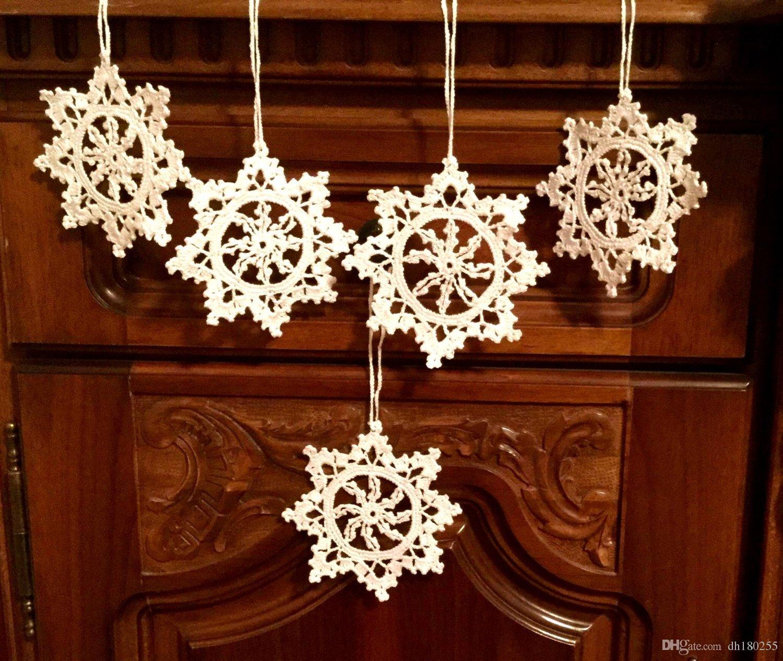 Großhandel Häkeln Weihnachtsschmuck Weiß Häkeln Schneeflocken