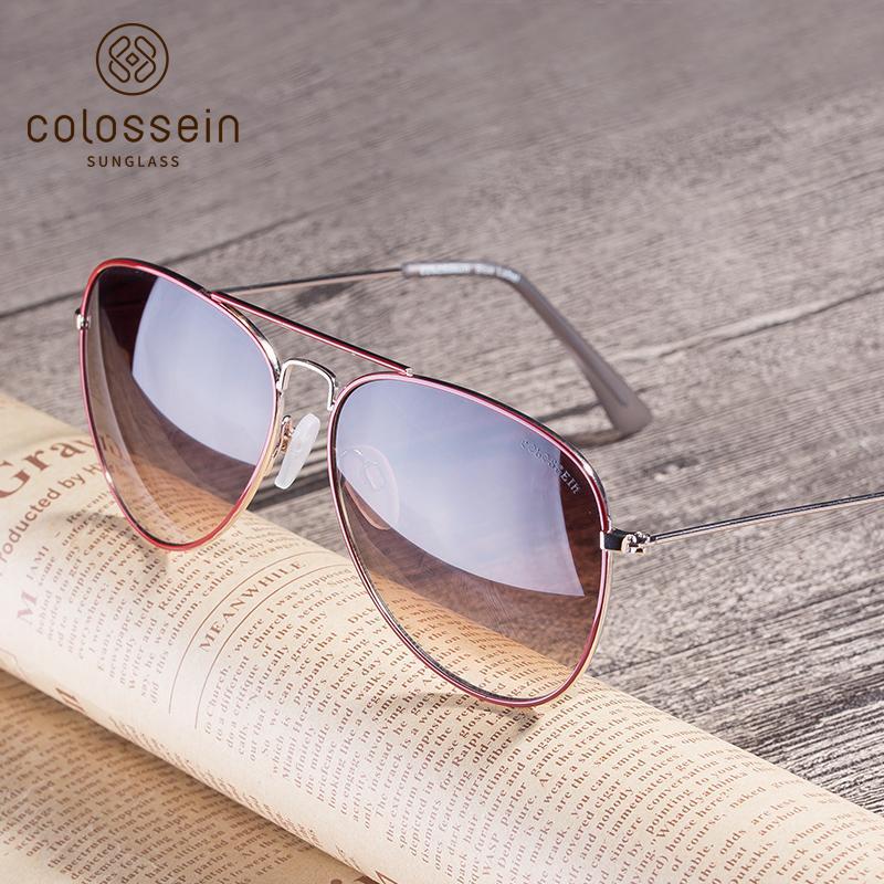 e2c727787ce24 Compre COLOSSEIN Piloto Sunglasses For Unisex Revestimento UV400 Óculos De  Metal Luz Óculos De Sol Das Mulheres Gradiente Lente Óculos De Proteção De  ...