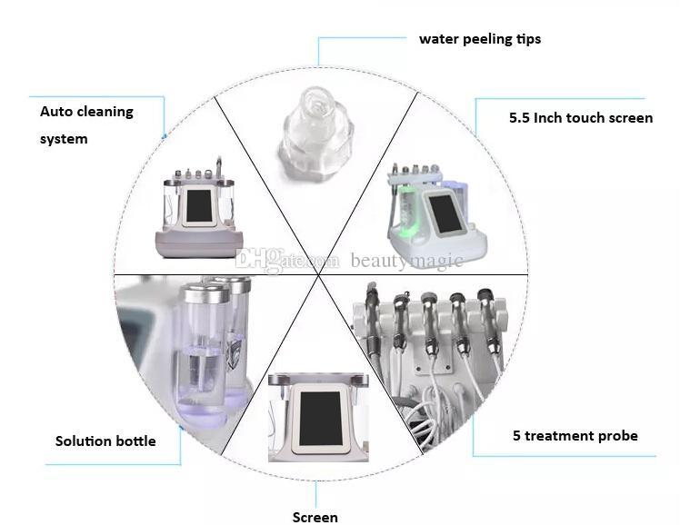 5 em 1 hydra dermoabrasão ultrassonografia rf bio-levantando martelo frio máquina facial hydro microdermoabrasão máquina de dermoabrasão