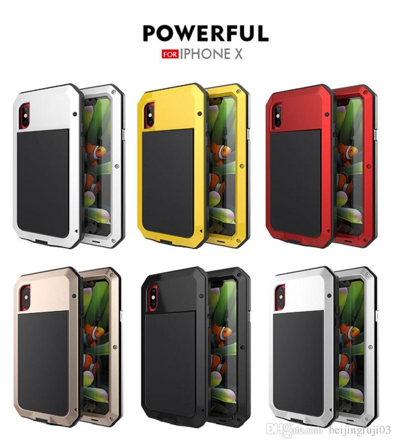 For iphone X 6 6s 7 8 Plus Cell Phone Case Shockproof Waterproof Aluminum Alloy Phone Protector Cover