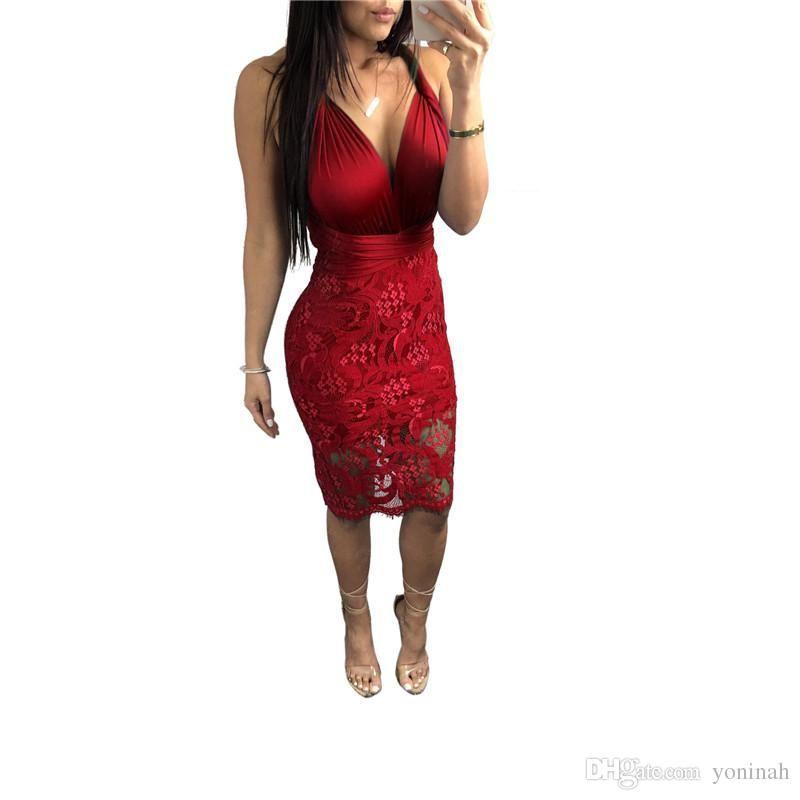 5e9373b99e5 Wholesale Halter Mini Women Sleeveless Deep V Neck Backless Bodycon Party  Club Dresses Plus Size 3XL Halter Dress Blue Dresses From Tangcaixia