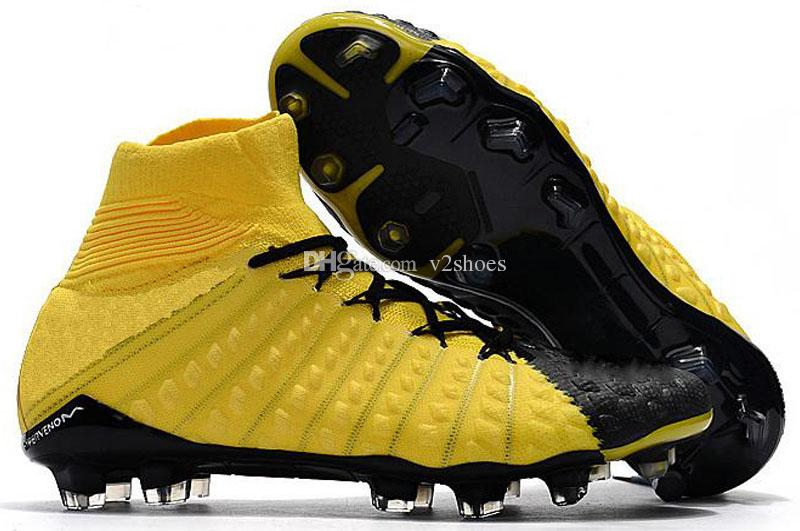 2018 Crampons de football pour hommes Hypervenom Phantom III EA Chaussures de football FG chaussures de football de sol mous bon marché