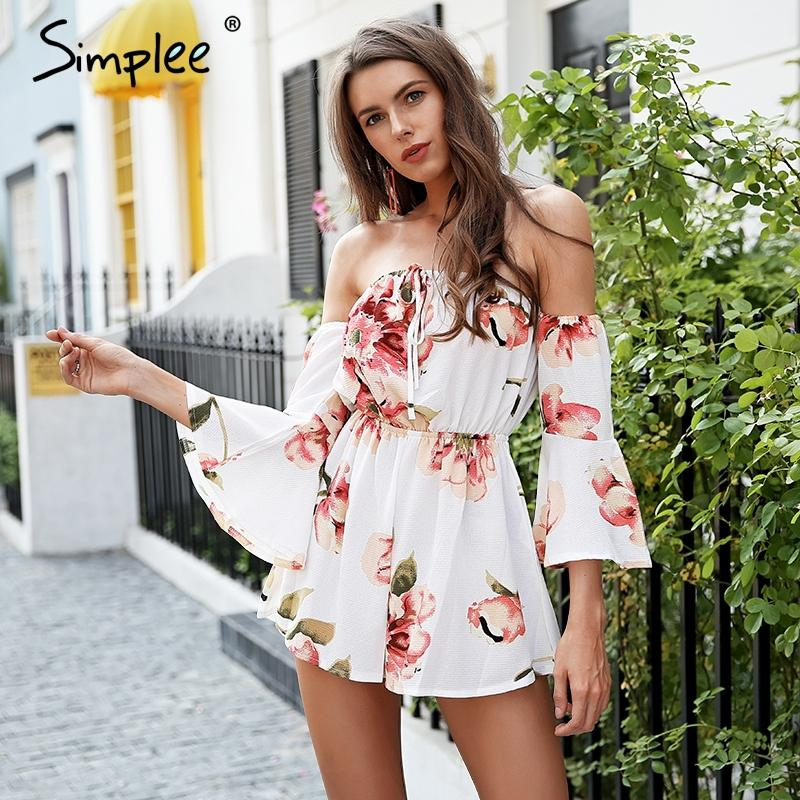 32b3c90efba3 2019 SimpSexy Off Shoulder Boho Floral Romper Flare Sleeve High Waist  Chiffon Short Jumpsuit Summer Beach Casual Macacao Feminino From Vikey08