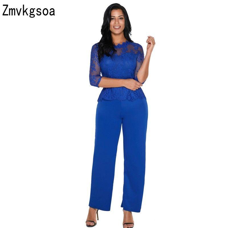 f9e5286bda2 2019 Zmvkgsoa 2018 Rompers Womens Jumpsuit Girls Black Blue Lace Peplum Top  Wide Leg Jumpsuit Women Body Feminino Overalls V643560 From Yzlwatchfine