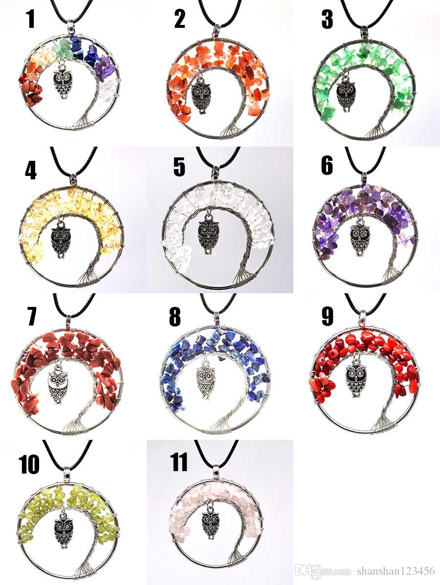 Fashion Women Rainbow 7 Chakra Tree Of Life Quartz owl Pendant Necklace Multicolor Natural Stone Wisdom Tree Necklace drop ship 380013