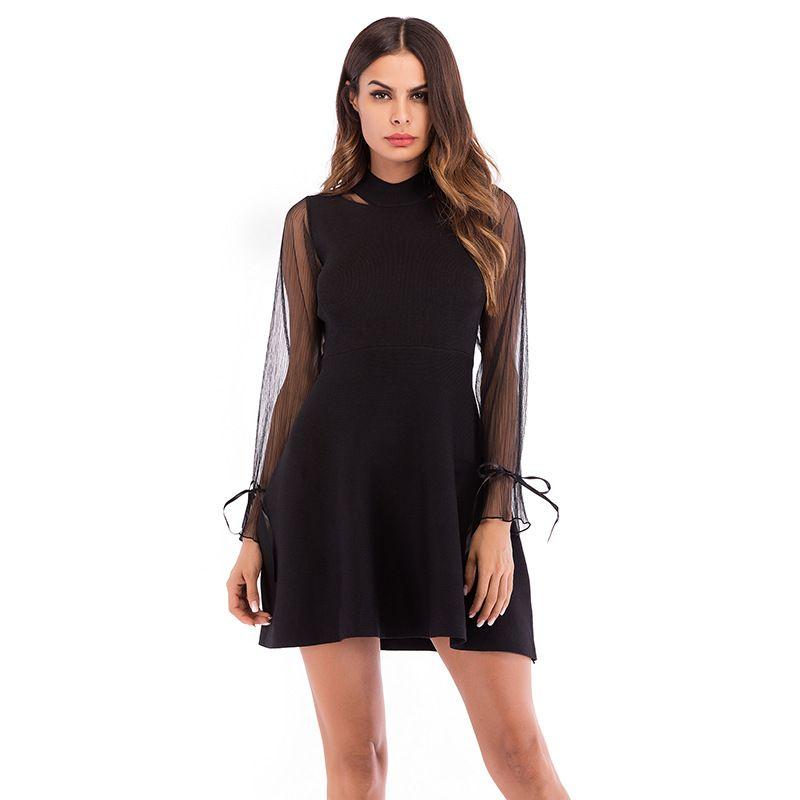 dbaaa2418b64 2019 2018New Style Women S Fashion Black Dresses Long Sleeve Elegant A Line  Dress Mesh Panelled Sexy Black Dress M L XL From Grace king88