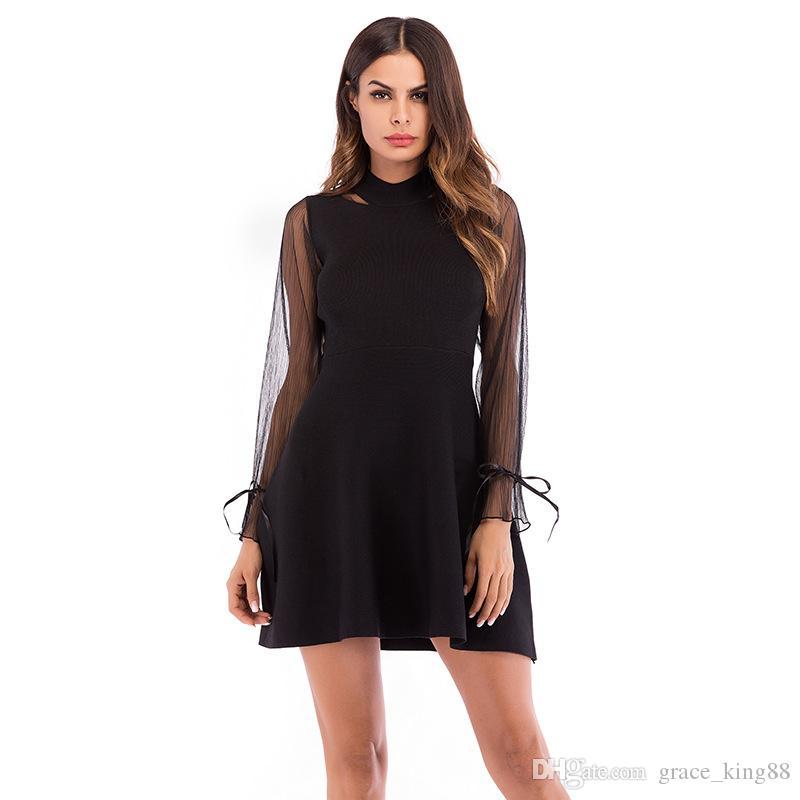 3103b9018 Compre 2018Nuevo Estilo Moda Mujer Negro Vestidos De Manga Larga Elegante  Vestido De Una Línea Mesh Paneled Sexy Vestido Negro M L XL A  20.1 Del ...