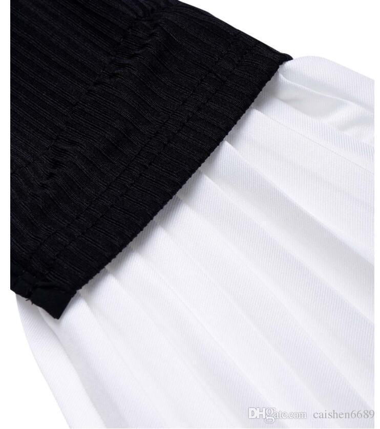 2018 nuova primavera t-shirt donna abbigliamento top moda bouffancy chiffon t-shirt girocollo manica falbala manica corta maglietta casual P
