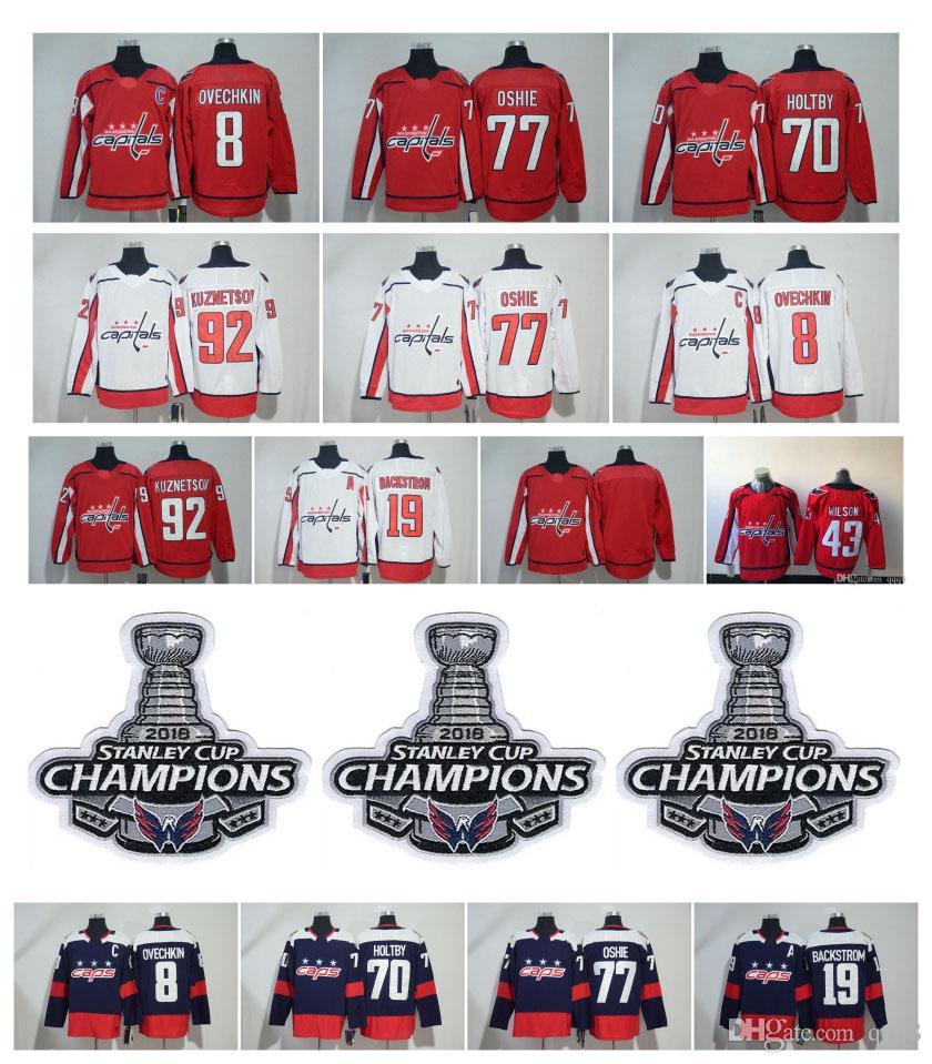 buy online 4d578 28258 NHL Washington Capitals Alex Ovechkin Jersey TJ Oshie Evgeny Kuznetsov  Braden Holtby Backstrom Hockey With 2018 Stanley Cup Champion Patch