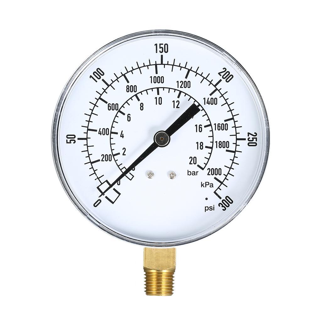 0 ~ 300psi 0 ~ 20bar Jauge de pression mécanique Filtre de piscine Aquarium Air Eau Jauge de pression de gaz Mètre 1/4 pouce NPT Montage inférieur