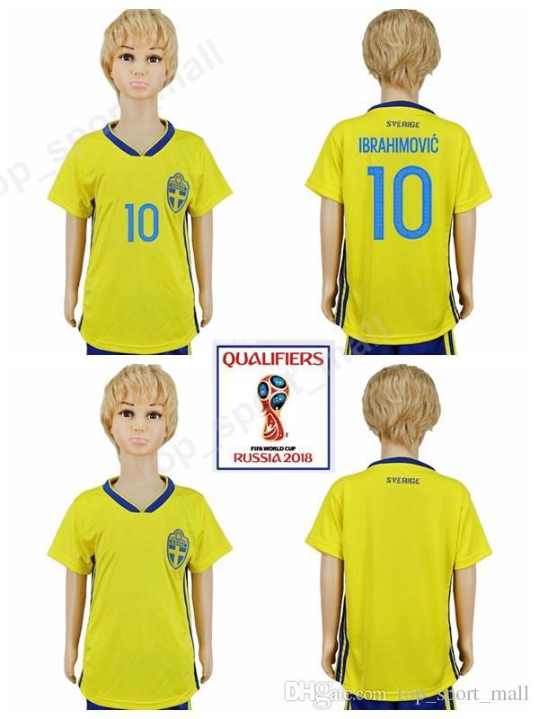 dab24aa52 2018 Soccer Youth Sweden Jersey 2018 World Cup 10 Ibrahimovic Kids Football Shirt  Uniform 9 Berg 7 Larsson 9 Kallstrom 6 Augustinsson Children From ...