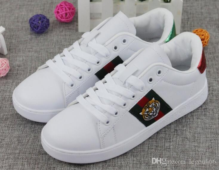 cc2cdf578 2018 New Summer New Leather, Small White Shoes,GUCCI Bee Embroidered ...