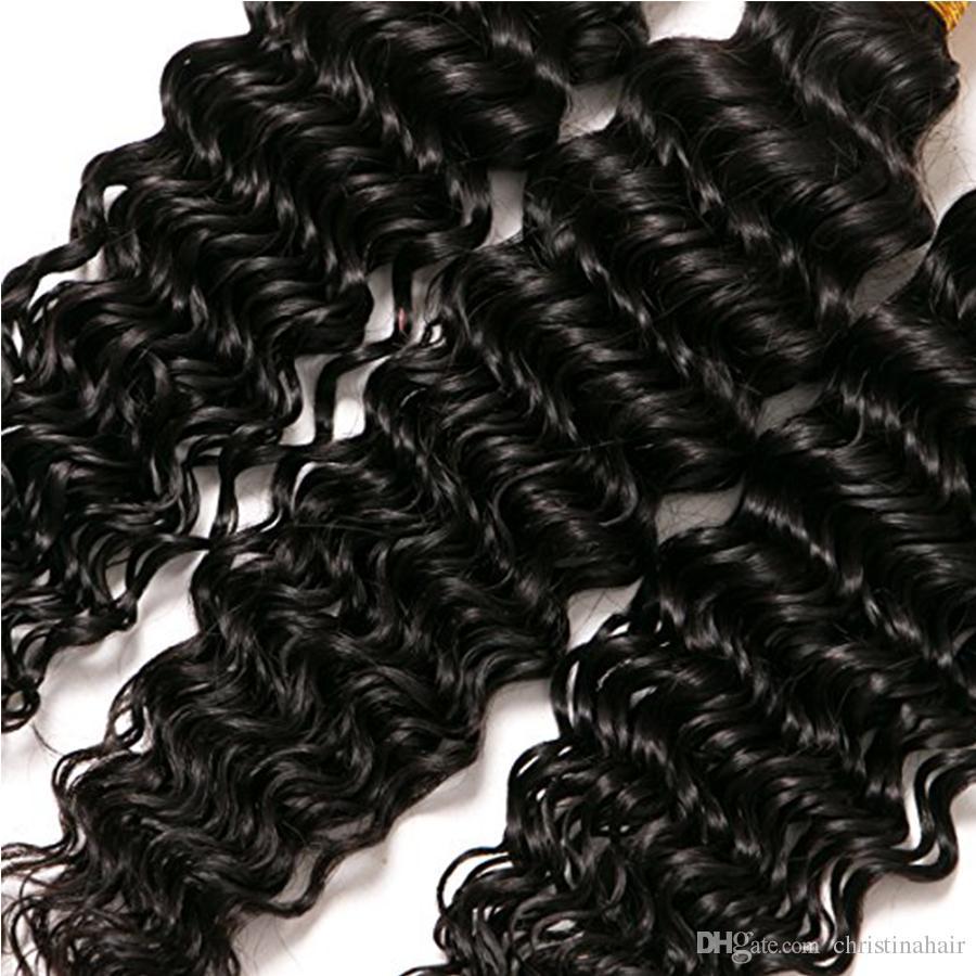 Glamorous Hair Peruvian Indian Malaysian Brazilian Deep Wave Curly Human Hair Extensions Machine Made Double Weft Hair Weaves 4 Bundles