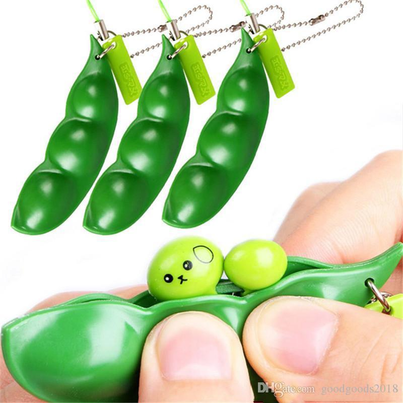 Lustiger Zappelspielzeug Squeeze Extrusion Bohnenspielzeug Schlüsselanhänger Schlüsselring Erbsen Sojabohnen Anti-Angst Dekompression Freies Verschiffen bis342