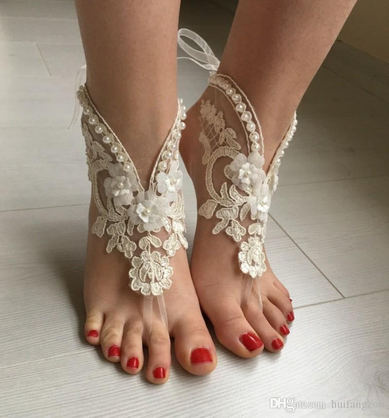 Summer Beach Wedding Ankle Bracelets Stretch Imitation Pearl Lace Applique Anklet Chain Fashion Bridal Foot Jewelry