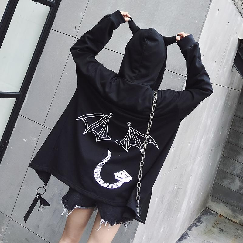152abec2f Special Design Coats And Jackets 2018 Harajuku Bf Wind Hooded Jackets Demon  Horns Cool Black Outwear Tops Female Zipper Jacket