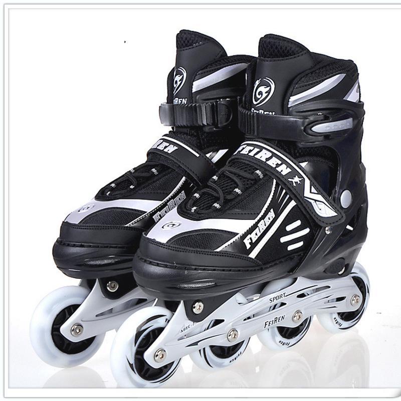 NEW Inline Professional Women Adult Men Slalom Sliding Ice Skates Skating  Shoes Adjustable Washable Rubber wheels Adulto