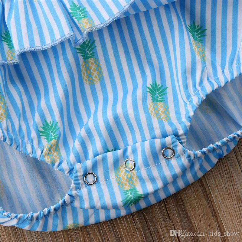 Newborn Baby Girl Pineapple Print Rompers Fly Sleeve blue Striped Jumpsuit Outfits Clothes Cute Summer Casual
