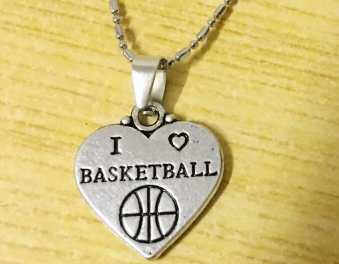 hot sale new arrival I Love Basketball Pendant Chain Necklace Sports Fans Players Schools Graduation Party Gifts drop shipping