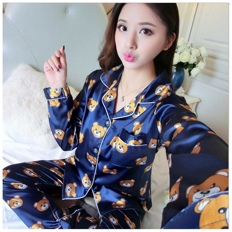 8b88343f59de 2019 Women Silk Satin Pajamas Spring Autumn Winter Long Sleeve Pajamas Suit  Casual Bear Print Sleepwear Plus Size From Sweatcloth