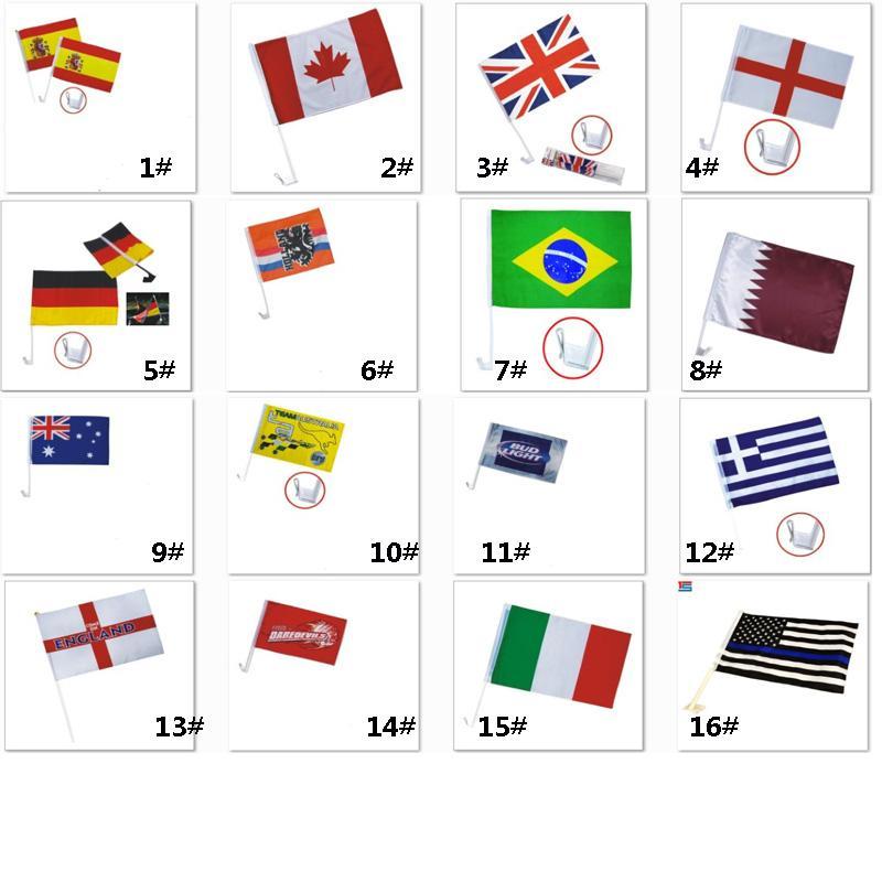 Bandiere banner Calcio Calcio 32 Country Car Flag Doppio lato in poliestere auto Window Clip Advertising Flag 30 * 45cm HH7-967