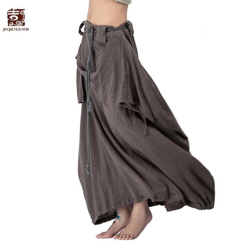 37508d09eaf 2019 Jiqiuguer Women Cotton Linen Harem Pants Vintage Plus Size Solid  Drawstring Zipper Loose Long Autumn Trousers Skirts L142K008 C18111301 From  Linmei0006 ...