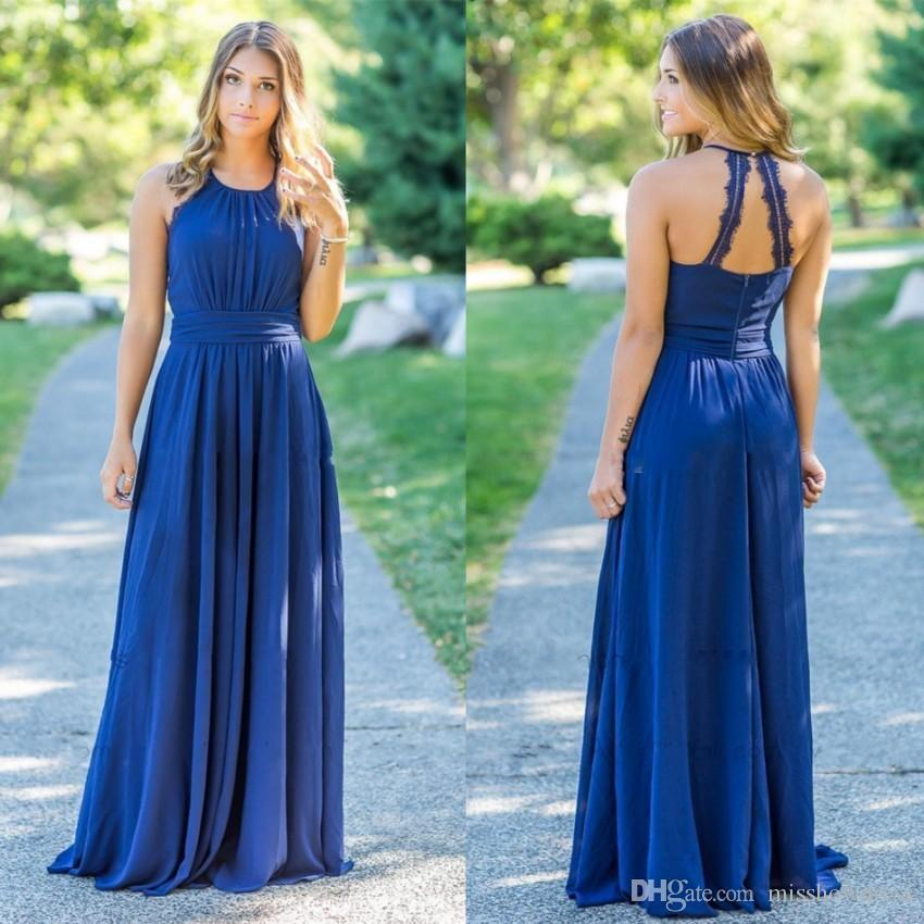 71af1a054c9 2019 Sexy Halter Chiffon Long Country Bridesmaid Dresses Ruched Lace  Applique Floor Length Maid Of Honor Wedding Guest Dresses BM0144 Bridesmaid  Designer ...