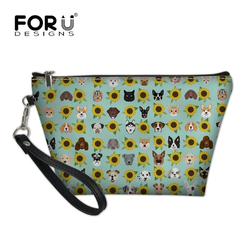 FORUDESIGNS Dogs and Cats Heads Sunflower Florals Pet Women Cosmetic Bag Travel Makeup Bags Organizer Storage Pouch Toiletry Kit