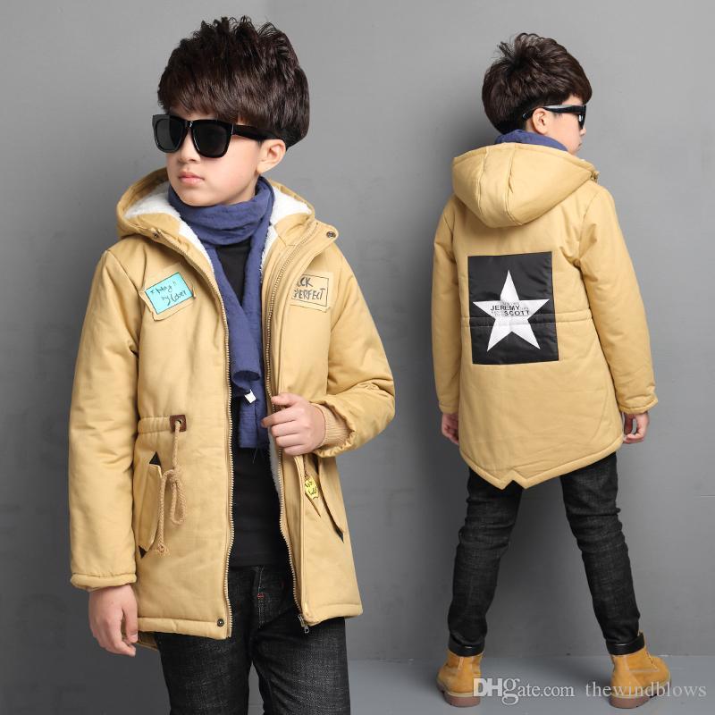 acb4271e8 Thick Winter Children Jackets Boys Coats Hooded Star Pattern Kids ...
