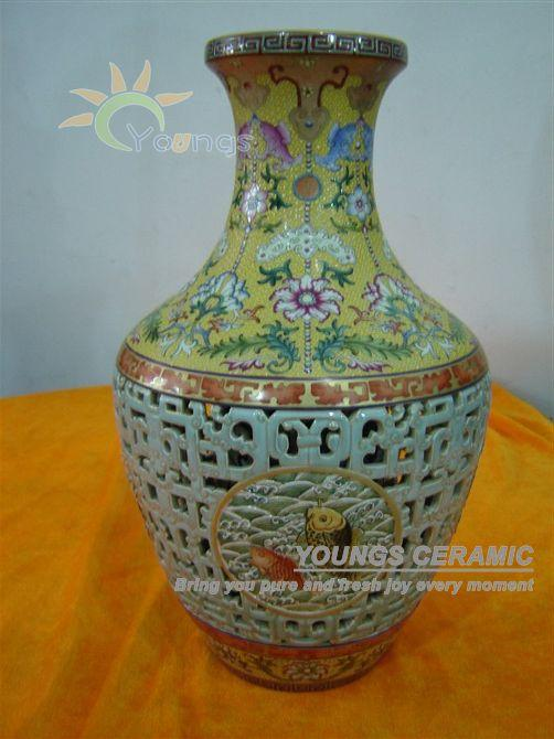 Chinese Antique Qing Dynasty Heavy Famille Rose Porcelain Vases Home