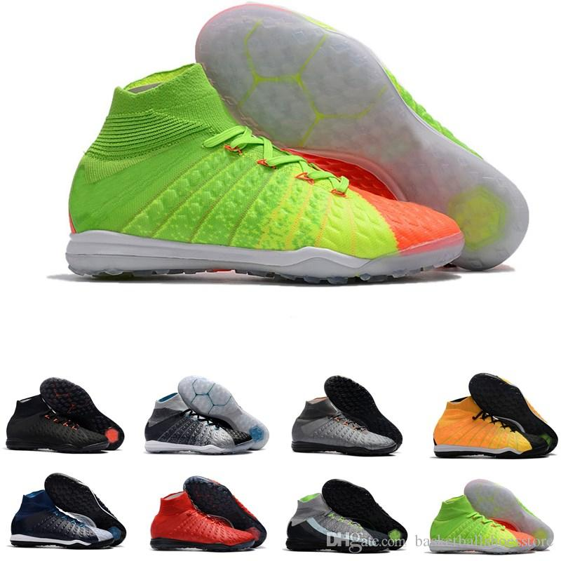 brand new 95796 bb8cb Indoor Mens brand high ankle soccer boots cleats TF Hypervenom Phantom 3  black white soccer shoes neymar football cleats shoes