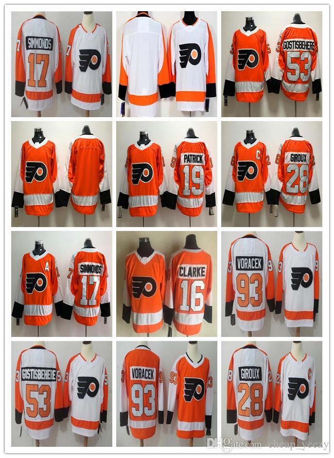 Men s 2018 Philadelphia Flyers 93 Jakub Voracek Jersey 28 Claude ... 5230fcabe
