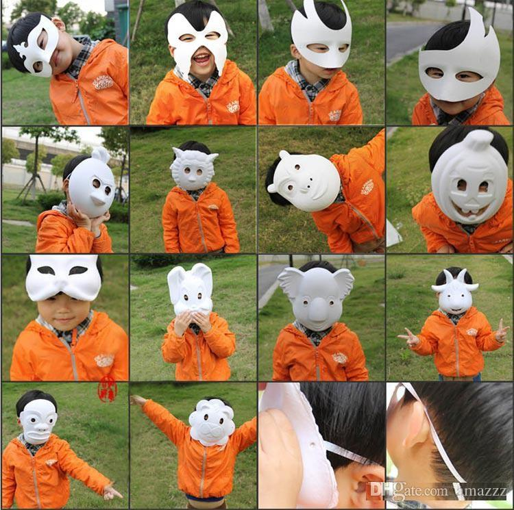 Best DIY Mask Hand Painted Halloween White Face Mask Zorro Crown Butterfly Blank Paper Mask Masquerade Party Cosplay Masks DHl