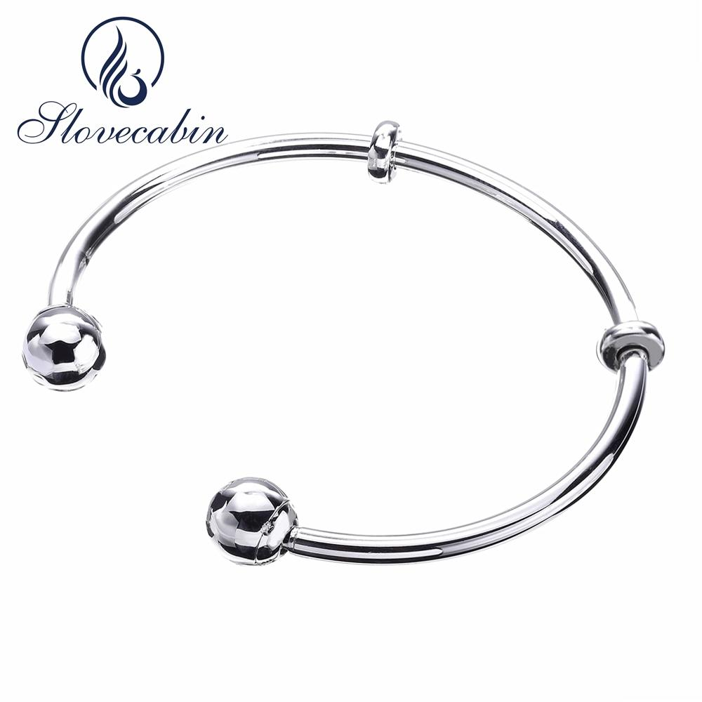 b590732d377 Slovecabin 2017 Summer Style Authentic 925 Sterling Silver Open Bangle  Bracelet For Women Cuff Bangle Bracelet For Beads DIYY1883003 Solid Gold  Bangles ...