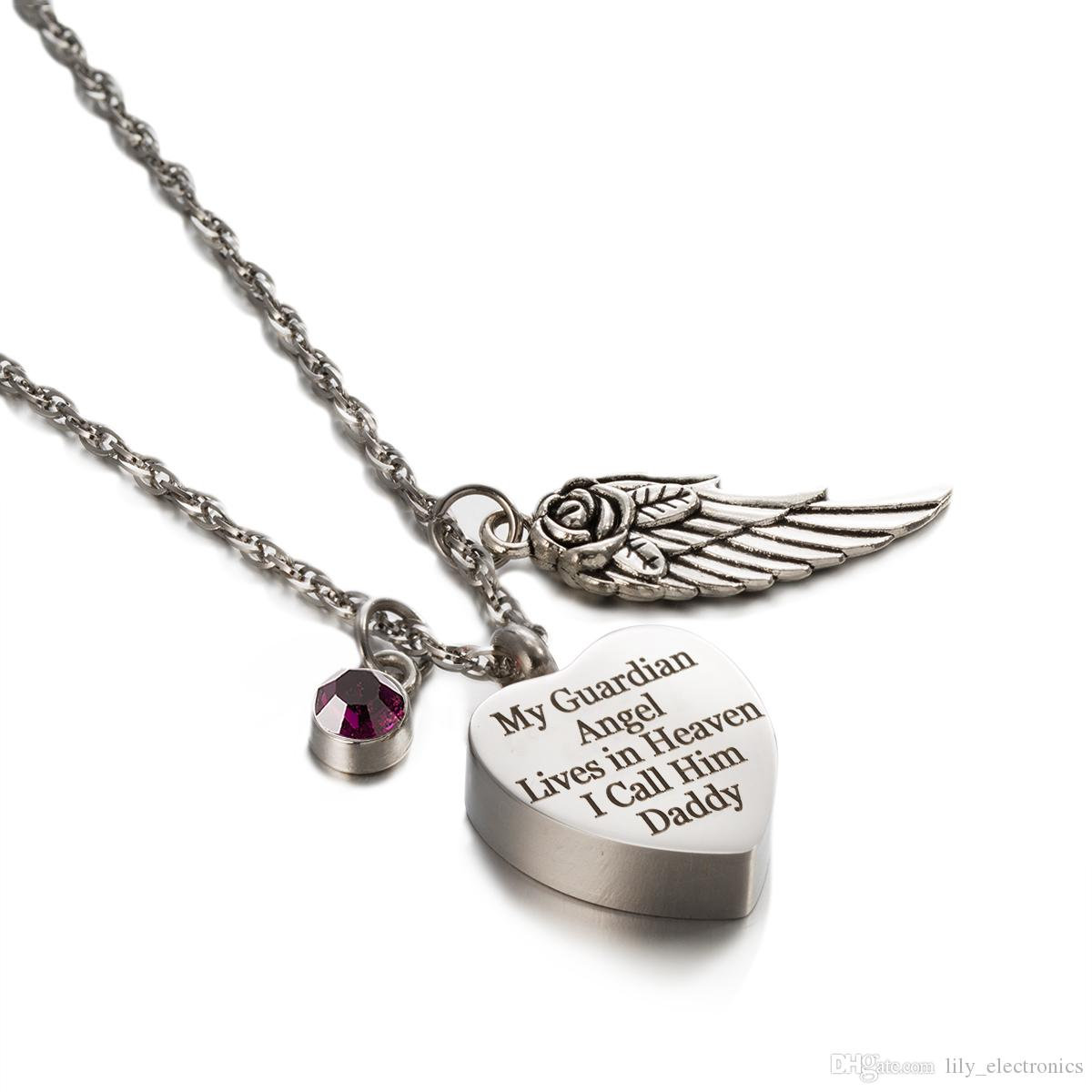 8f5107c0846 Wholesale Cremation Urn Jewelry My Guardian Angel Daddy Heart Keepsake  Memorial Engraved Necklace With Birthstone Angel Wing Charm White Gold  Pendant ...