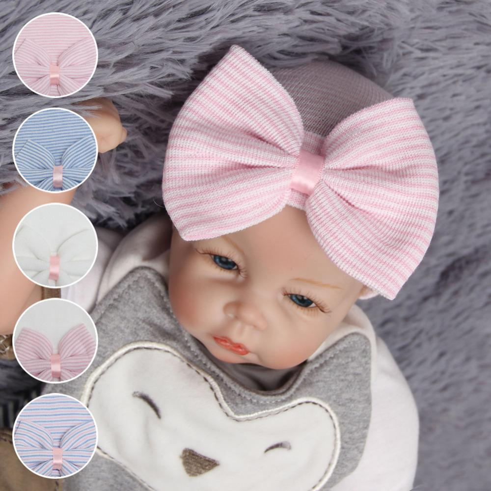 c7ea6276601 2019 Newborn Baby Girl Hat Cotton Beanie With Bow Infant Soft ...
