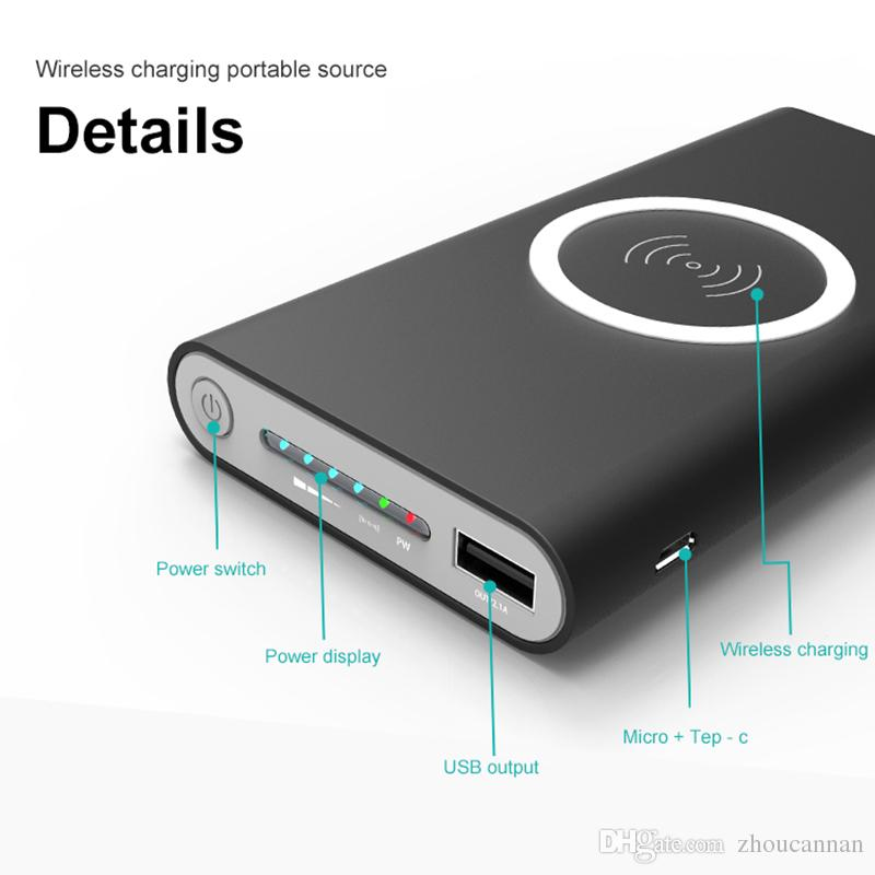 10000mah Power Bank External Battery Quick Charge Wireless Charger Powerbank Portable Mobile Phone Charger for iPhone x 8 8 Plus