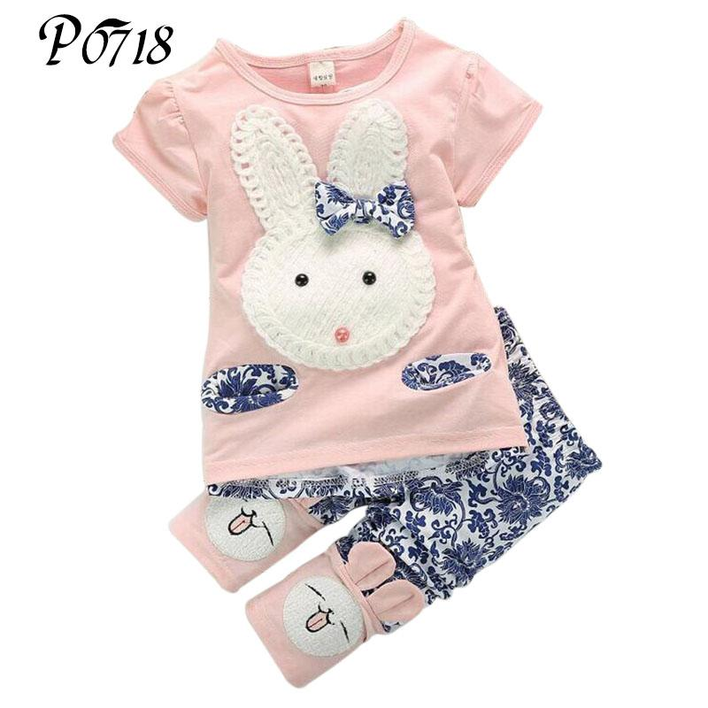 f61cee195806 2019 New Summer Sets Baby Girls Short Sleeve Tops + Pants Suits Clothes  Cute Rabbit Kids Girl Pink Green Outfits 1 2 3 4 Years From Xunqian, $39.0  | DHgate.