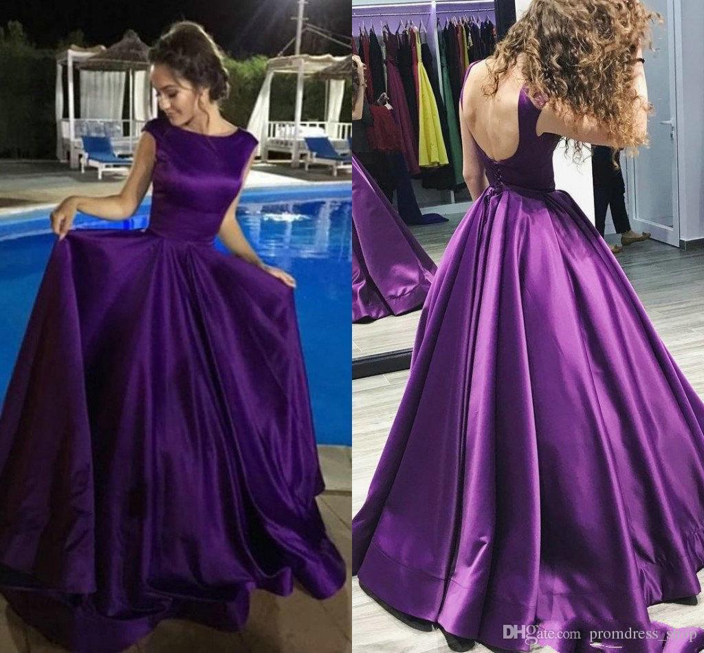 826e112e038d Long Purple Prom Dresses 2019 New Satin Open Back Sleeveless A Line Floor  Length Draped Simple Party Dresses Women Formal Evening Gowns Long Elegant  Dresses ...