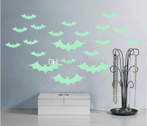 Acquista Halloween Pipistrelli Stickers Murali Adesivi Fluorescenza ...