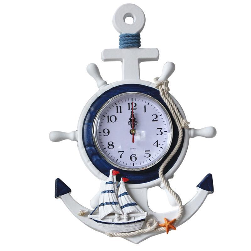 9f11c1d1b6c Compre Âncora Relógio Praia Mar Tema Náutico Navio Roda Leme Volante  Decoração Decoração De Parede Decoração De Baibuju8