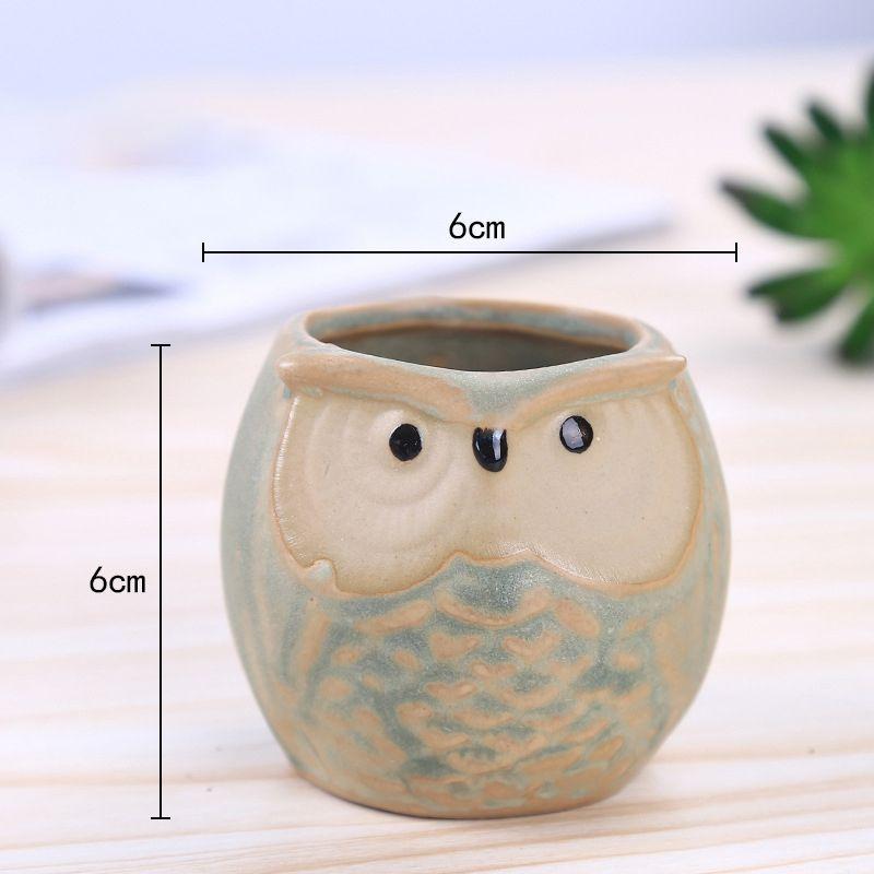Cartoon Owl-shaped Flower Pot for Succulents Fleshy Plants Flowerpot Ceramic Small Mini Home/Garden/Office Decoration HH7-856